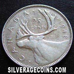 1948 George VI Canadian Silver 25 Cents