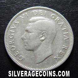 1949 George VI Canadian Silver 25 Cents