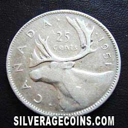 1951 George VI Canadian Silver 25 Cents