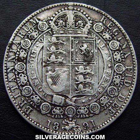 "1891 Queen Victoria British Silver ""Jubilee Head"" Half Crown"