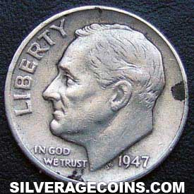 1947 United States Silver Roosevelt Dime 10 Cents