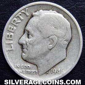 1946 United States Silver Roosevelt Dime 10 Cents