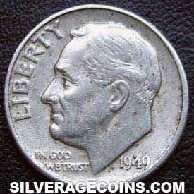 1949 United States Silver Roosevelt Dime 10 Cents