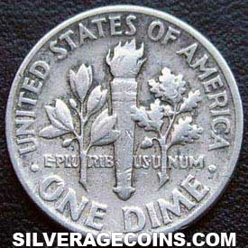 1954 United States Silver Roosevelt Dime 10 Cents