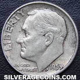 1959 United States Silver Roosevelt Dime 10 Cents