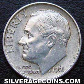 1961 United States Silver Roosevelt Dime 10 Cents