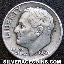 1950D United States Silver Roosevelt Dime 10 Cents