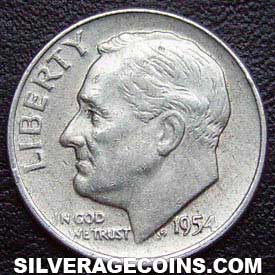 1954D United States Silver Roosevelt Dime 10 Cents