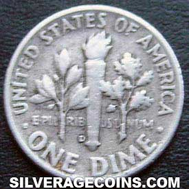 1956D United States Silver Roosevelt Dime 10 Cents