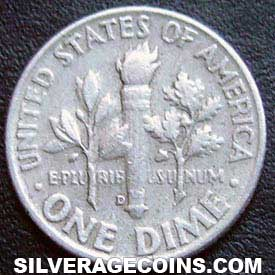 1957 D United States Silver Roosevelt Dime 10 Cents