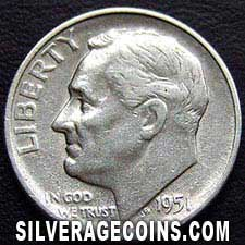 1951S United States Silver Roosevelt Dime 10 Cents
