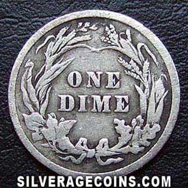 1901 United States Silver Barber Dime 10 Cents