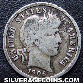 1906 United States Silver Barber Dime 10 Cents