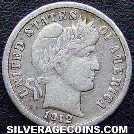 1912 United States Silver Barber Dime 10 Cents