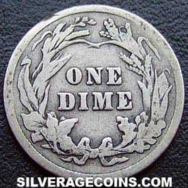 1913 United States Silver Barber Dime 10 Cents