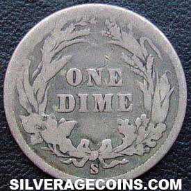 1899S United States Silver Barber Dime 10 Cents