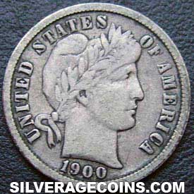 1900S United States Silver Barber Dime 10 Cents