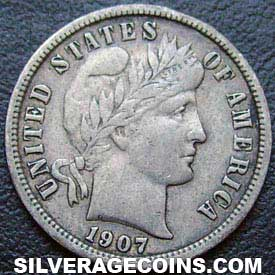 1907S United States Silver Barber Dime 10 Cents