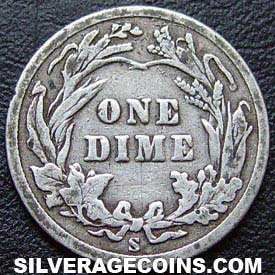 1908S United States Silver Barber Dime 10 Cents