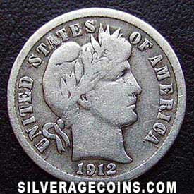 1912D United States Silver Barber Dime 10 Cents