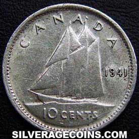 """1941 George VI Canadian Silver """"Dime"""" 10 cents"""
