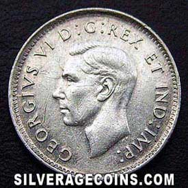 "1943 George VI Canadian Silver ""Dime"" 10 cents"