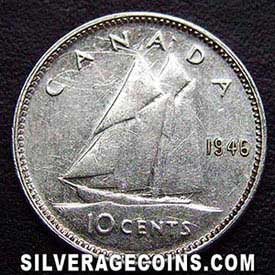 "1946 George VI Canadian Silver ""Dime"" 10 cents"