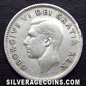 "1949 George VI Canadian Silver ""Dime"" 10 Cents"