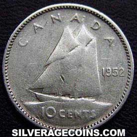 """1952 George VI Canadian Silver """"Dime"""" 10 Cents"""