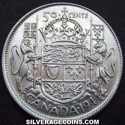 1944 George VI Canadian Silver 50 Cents