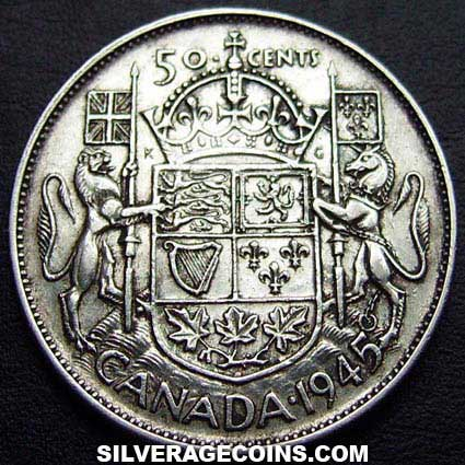 1945 George VI Canadian Silver 50 Cents