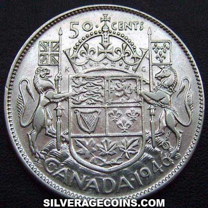1946 George VI Canadian Silver 50 Cents