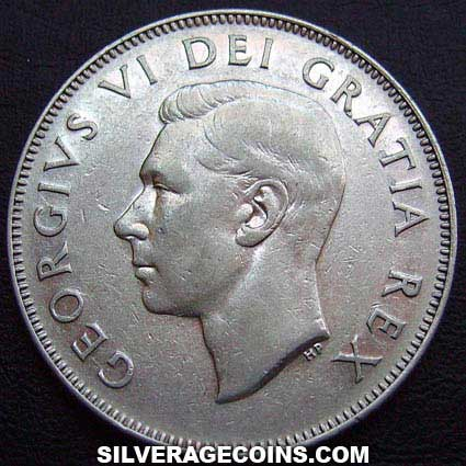 1949 George VI Canadian Silver 50 Cents