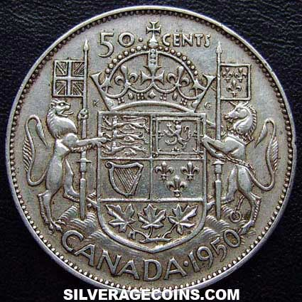 1950 no lines 0 George VI Canadian Silver 50 Cents