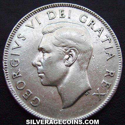 1952 George VI Canadian Silver 50 Cents
