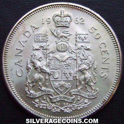 50 Céntimos de Plata Canadienses de Isabel II de 1962