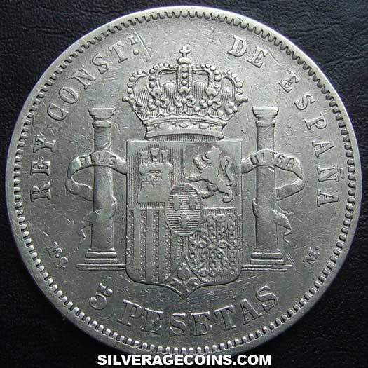 1881 (81) MS-M Alfonso XII Spanish Silver 5 Pesetas