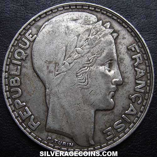 1933(ll) French Silver 20 Francs