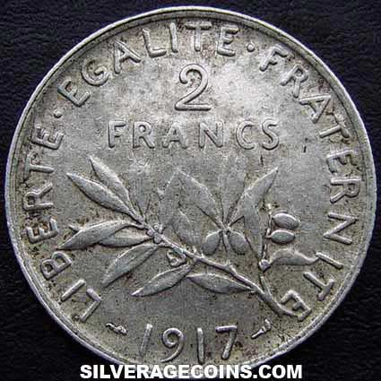1917 French Silver 2 Francs