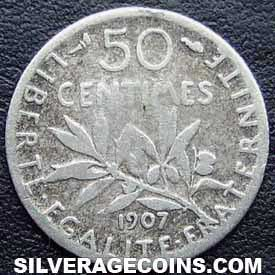 1907 French Silver 50 Cents