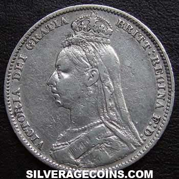 "1890 Queen Victoria British Silver ""Jubilee Large Head"" Shilling"