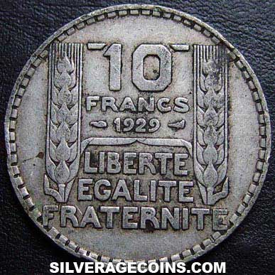 1929 French Silver 10 Francs