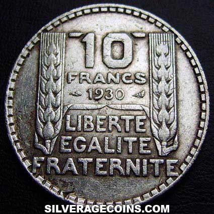 1930 French Silver 10 Francs
