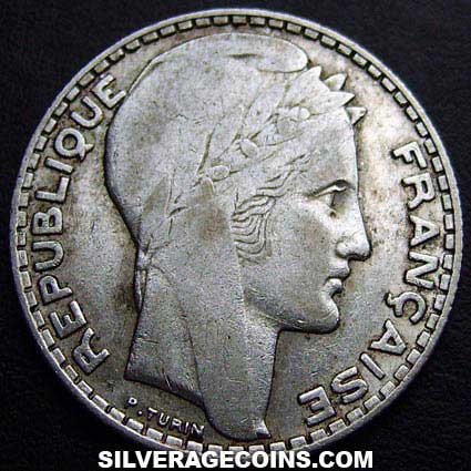 1932 French Silver 10 Francs
