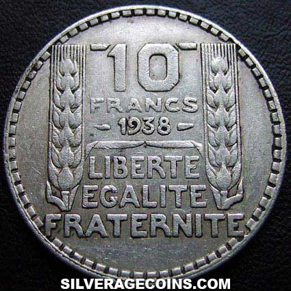 1938 French Silver 10 Francs