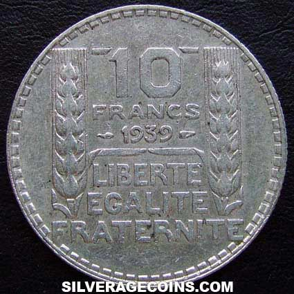 1939 French Silver 10 Francs