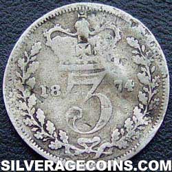 """1874 Queen Victoria British Silver """"Young Head"""" Threepence"""