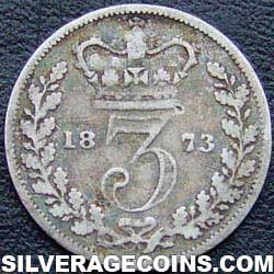 "1873 Queen Victoria British Silver ""Young Head"" Threepence"