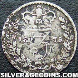 "1875 Queen Victoria British Silver ""Young Head"" Threepence"