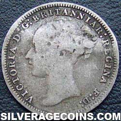 """1878 Queen Victoria British Silver """"Young Head"""" Threepence"""